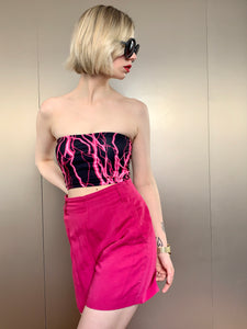 Vintage Inspired 00s Tube Top in Black & Neon Pink Lightning Bolt in XS