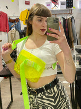 Load image into Gallery viewer, Vintage Inspired Bag Cross Body in Neon Yellow Transparent with Belt Detail