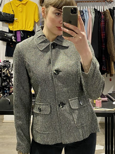 Vintage Jacket in Black and White Pattern with Collar Detail and Black Buttons in S