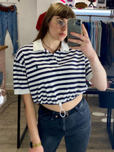 Load image into Gallery viewer, Vintage Reworked Ralph Lauren Crop Top Polo Shirt in White Blue Red Striped in S/M