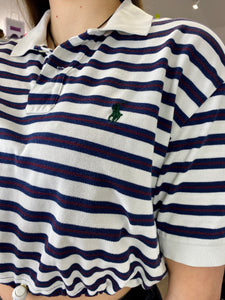 Vintage Reworked Ralph Lauren Crop Top Polo Shirt in White Blue Red Striped in S/M