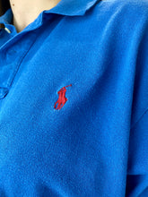 Load image into Gallery viewer, Vintage Reworked Ralph Lauren Crop Top Polo Shirt in Blue in S