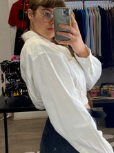 Load image into Gallery viewer, Reworked Vintage Chaps Ralph Lauren Crop Top Shirt Long Sleeve in White in S/M