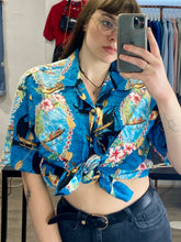 Load image into Gallery viewer, Vintage 90s Shirt Hawaiian Short Sleeved in Blue with Beige Boat Pattern in L