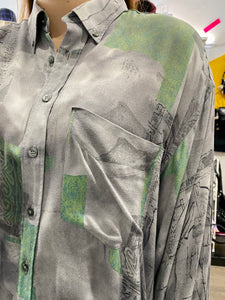 Vintage Shirt Blouse in Grey and Green Abstract Pattern with Pocket in XL
