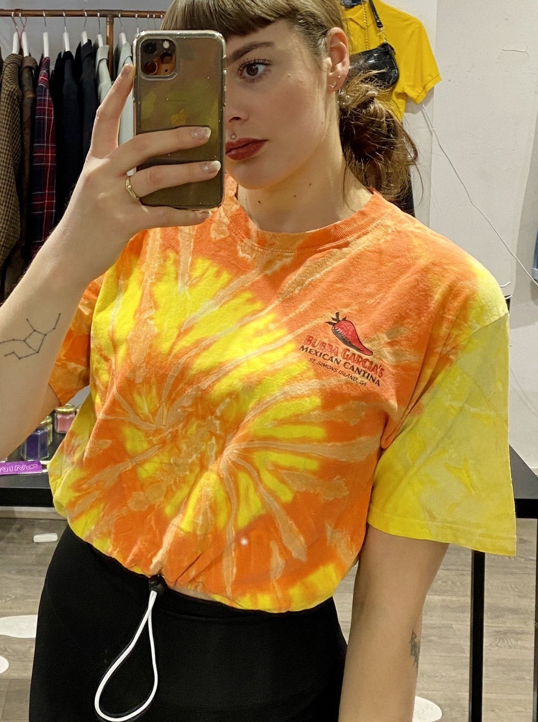 Vintage Reworked Tie Dye Crop Top T-Shirt in Orange and Yellow with Mexican Print in S/M