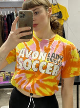 Load image into Gallery viewer, Vintage Reworked Tie Dye Crop Top T-Shirt in Orange, Yellow and Pink with Soccer Print in S