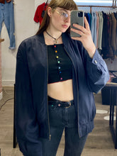 Load image into Gallery viewer, Vintage Silk Bomber Jacket in Dark Blue with Button Detail in L