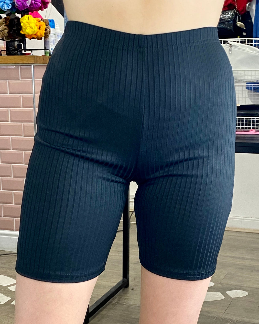 Vintage Inspired Bike Shorts in Black Ribbed Cycling in S/M