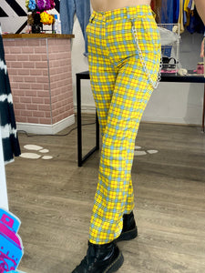 Vintage Inspired Trousers Tartan in Yellow Blue Red Checked with Chain in S or M
