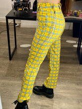 Load image into Gallery viewer, Vintage Inspired Trousers Tartan in Yellow Blue Red Checked with Chain in S or M