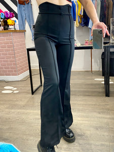 Vintage Inspired Flared Trousers High Waisted in Black with Buttons in XS/S or M/L