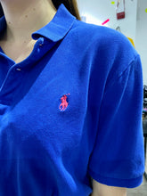 Load image into Gallery viewer, Reworked Vintage Ralph Lauren Crop Top Polo Shirt in Blue with Pink Detail in S
