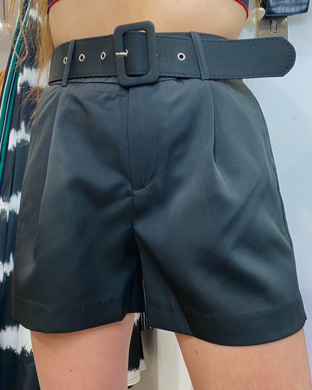 Vintage Inspired Shorts in Black with Belt in M