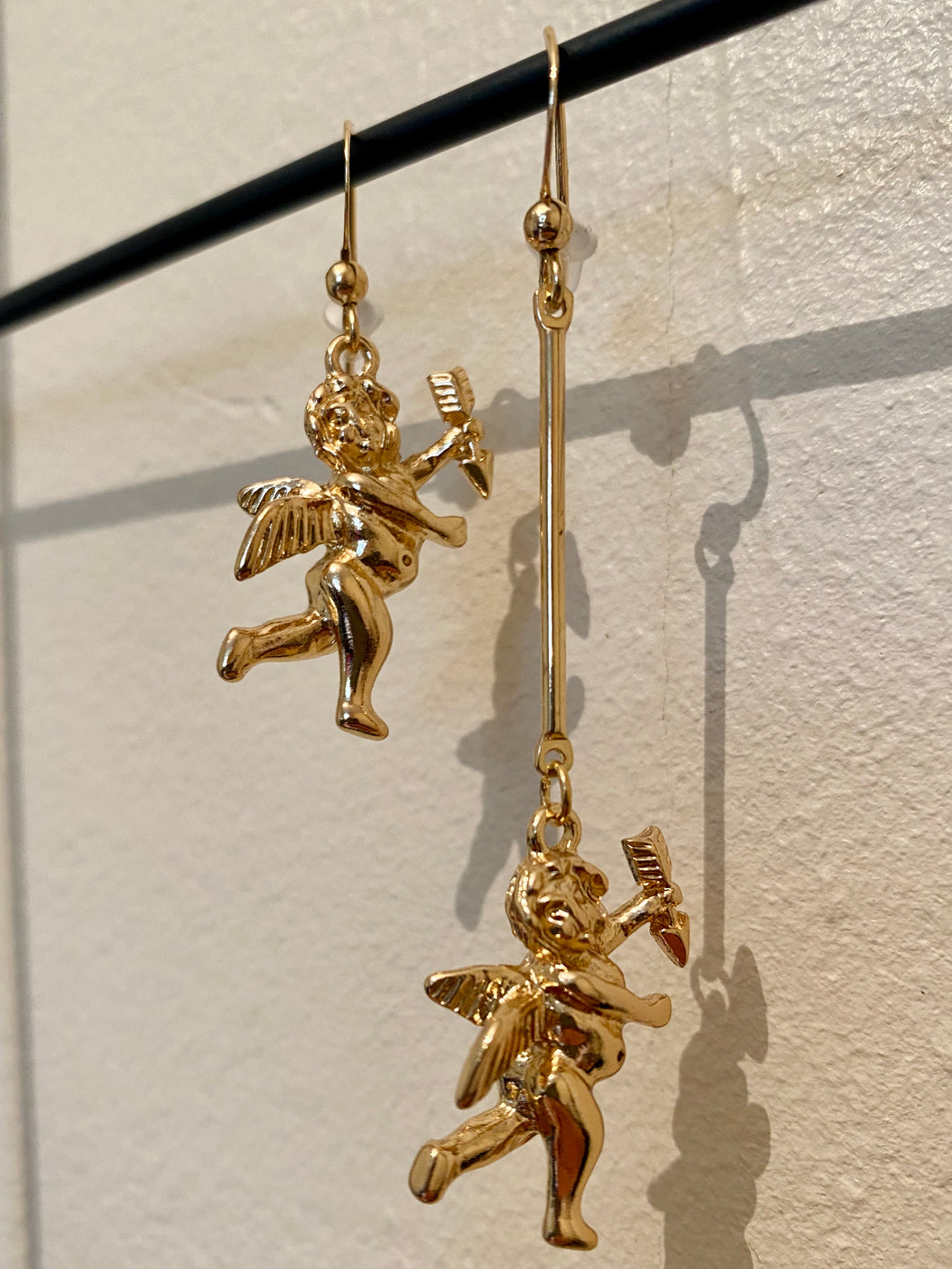 Vintage Inspired Earrings Angel with Arrow in Gold