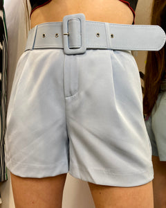 Vintage Inspired Shorts in Light Blue with Belt in M