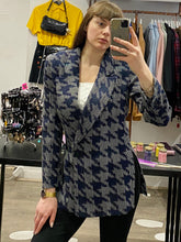 Load image into Gallery viewer, Vintage Blazer in Blue and Grey Geometric Pattern with Side Slit in M