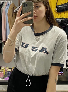 Vintage Reworked Crop Top T-Shirt in Grey and Blue with USA Print in S