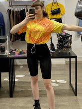 Load image into Gallery viewer, Vintage Reworked Tie Dye Crop Top T-Shirt in Orange and Yellow with Mexican Print in S/M