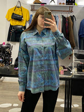 Load image into Gallery viewer, Vintage Shirt Blouse in Blue Green Purple Aztec Pattern in L