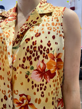 Load image into Gallery viewer, Vintage Blouse Sleeveless in Yellow with Red Orange Leopard and Flower Print in M/L