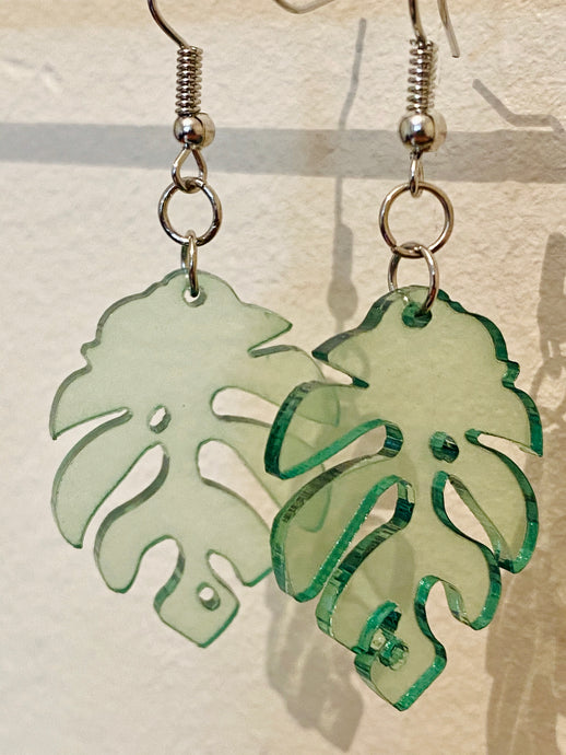 Vintage Inspired Earrings Monstera Plant Leaf in Transparent Green and Silver