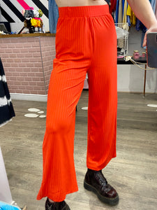 Vintage Inspired Trousers Wide Leg in Orange Ribbed in M