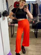 Load image into Gallery viewer, Vintage Inspired Trousers Wide Leg in Orange Ribbed in M
