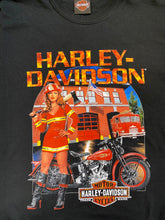 Load image into Gallery viewer, Vintage Harley-Davidson T-Shirt in Black with Fire Brigade Print in L