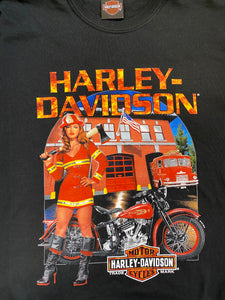 Vintage Harley-Davidson T-Shirt in Black with Fire Brigade Print in L