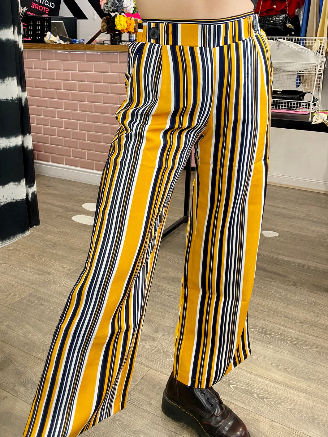 Vintage Inspired Suit Trousers in Yellow, White and Blue Striped in S or M