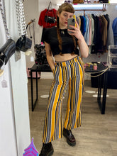 Load image into Gallery viewer, Vintage Inspired Suit Trousers in Yellow, White and Blue Striped in S or M