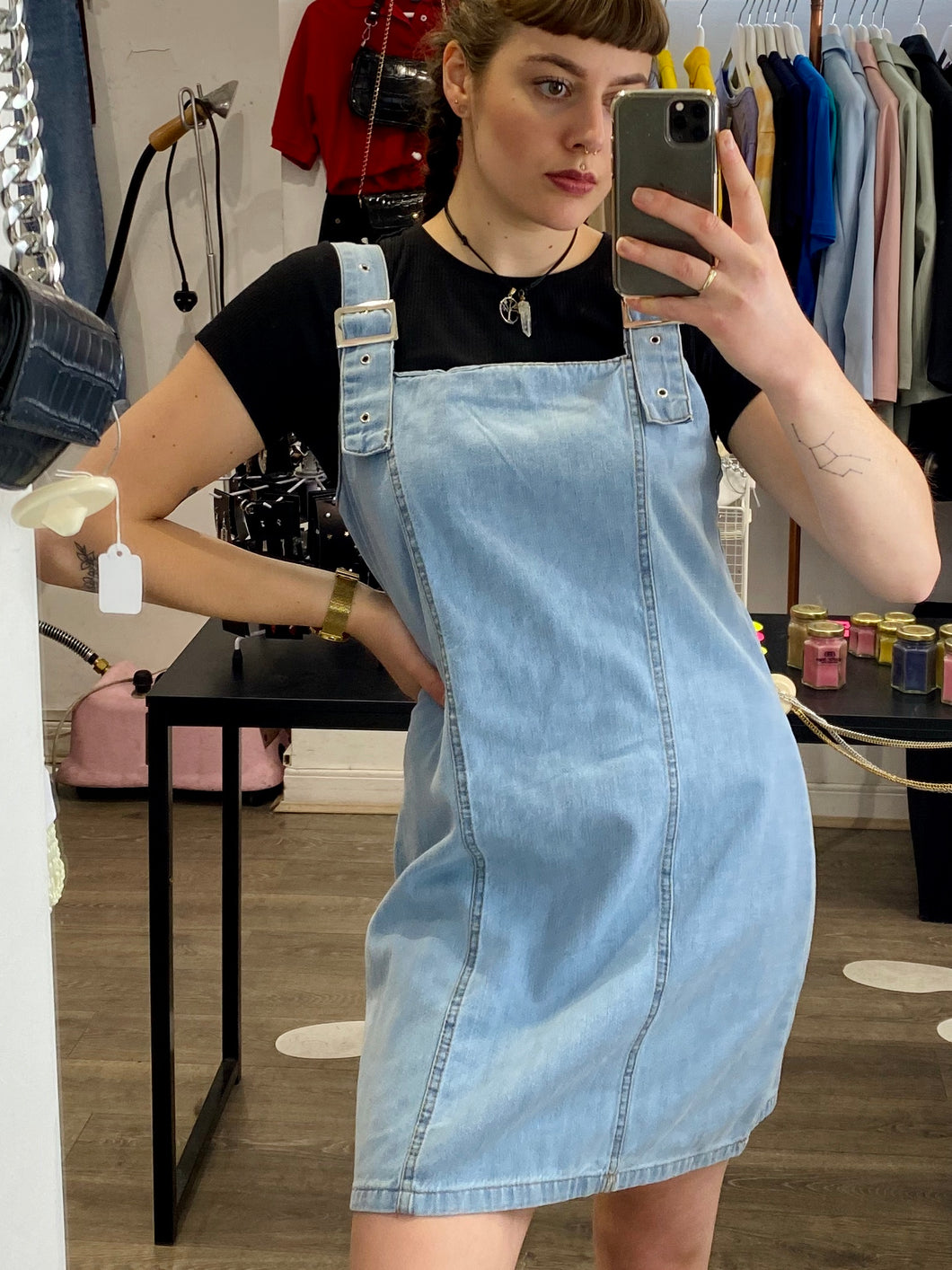 Vintage Inspired Denim Dress Dungaree Style in Light Wash in M