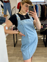 Load image into Gallery viewer, Vintage Inspired Denim Dress Dungaree Style in Light Wash in M