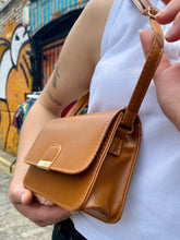 Load image into Gallery viewer, Vintage Inspired Bag Cross Body in Brown with Golden Buckle