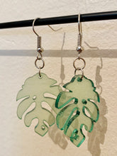 Load image into Gallery viewer, Vintage Inspired Earrings Monstera Plant Leaf in Transparent Green and Silver