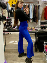 Load image into Gallery viewer, Vintage Inspired Flared Trousers in Blue Ribbed in S