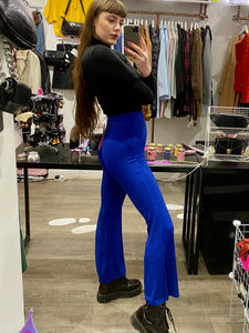 Vintage Inspired Flared Trousers in Blue Ribbed in S