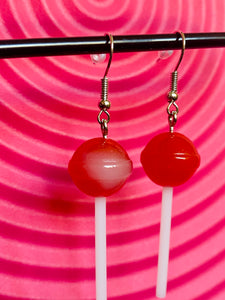 Vintage Inspired Earrings Lollipops in Red and White with Silver Detail