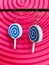 Load image into Gallery viewer, Vintage Inspired Earrings Lollipop in Blue and White