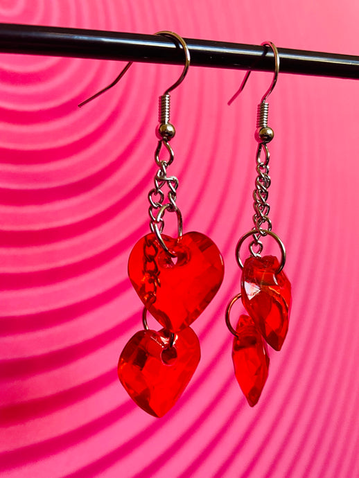 Vintage Inspired Heart Earrings with Red Pendants and Silver Detail