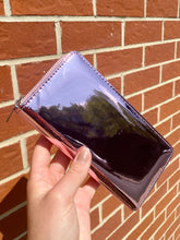 Load image into Gallery viewer, Vintage Inspired Wallet in Pink Chrome with Silver Zipper