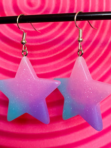 Vintage Inspired Earrings Star in Purple and Blue Sparkling Glitter with Silver Detail