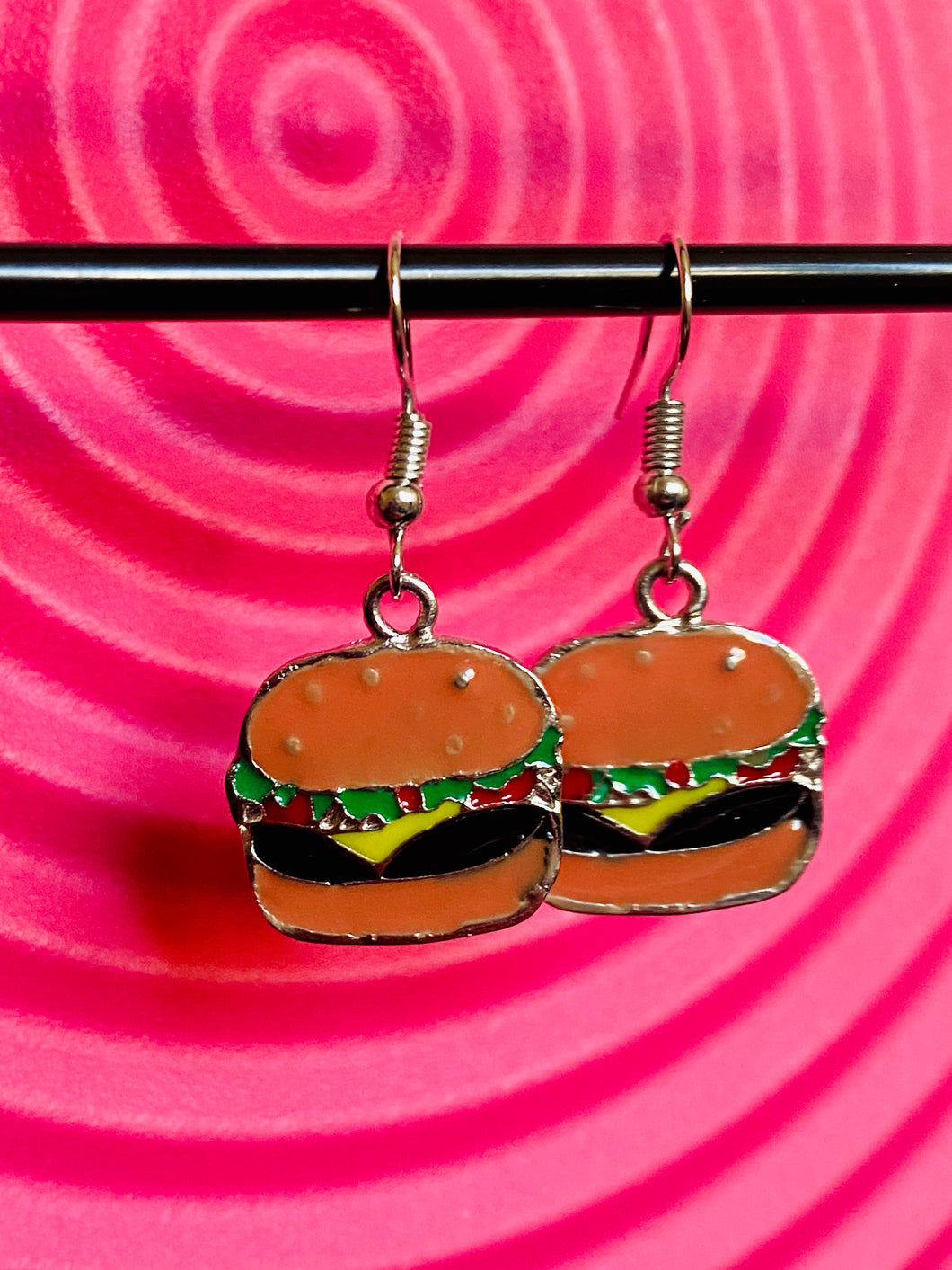 Vintage Inspired Earrings Burger with Silver Detail