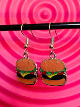 Load image into Gallery viewer, Vintage Inspired Earrings Burger with Silver Detail