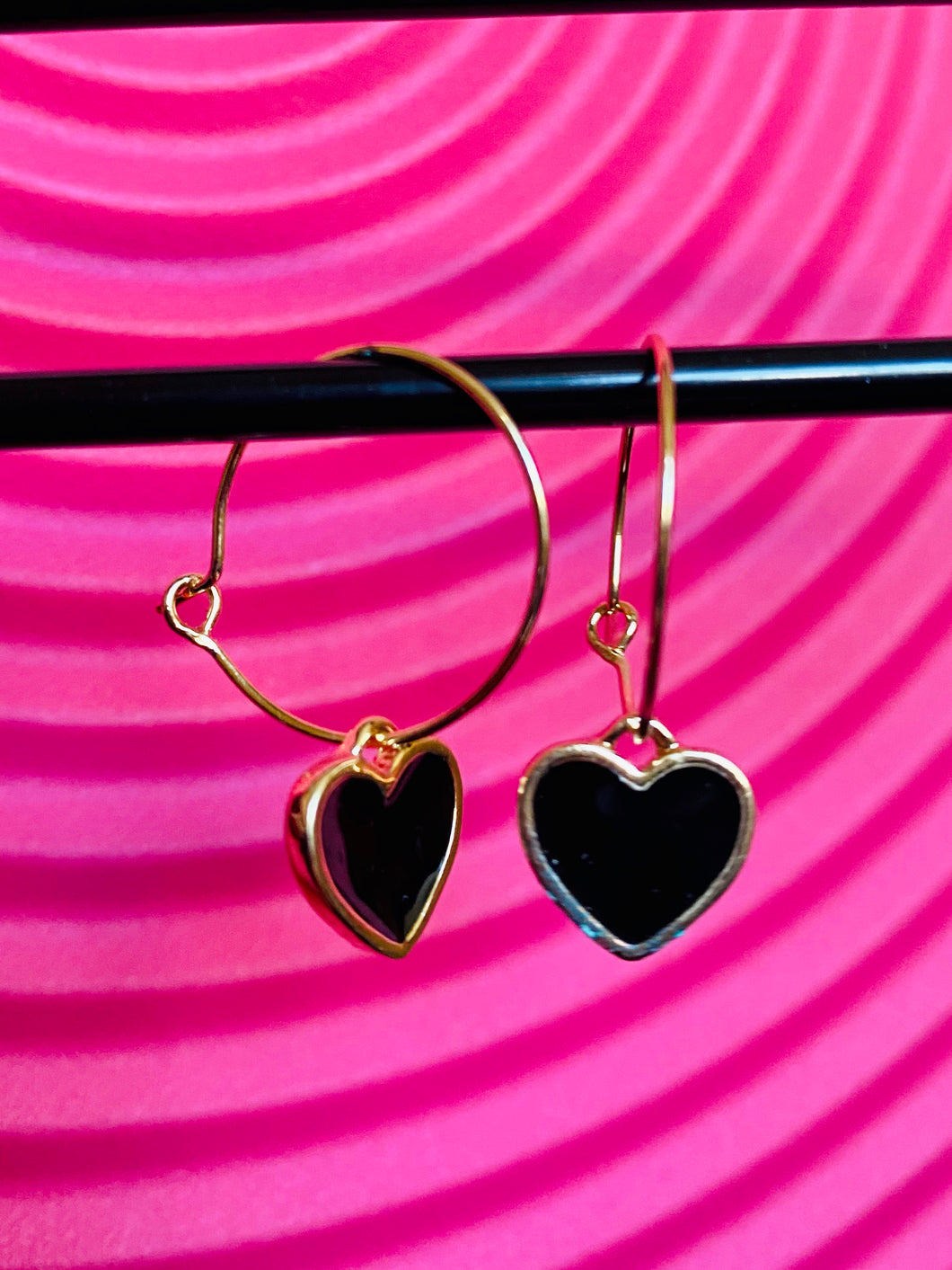 Vintage Inspired Earrings Hoops in Gold with Black Heart Pendant