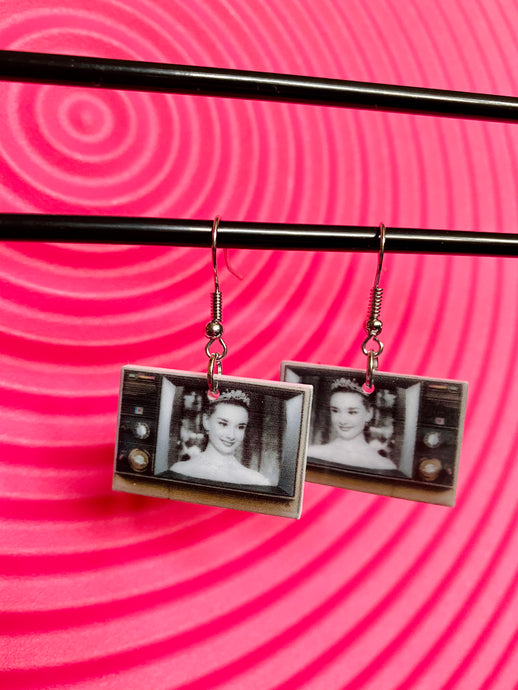 Vintage Inspired Earrings Television Audrey Hepburn in Black and White