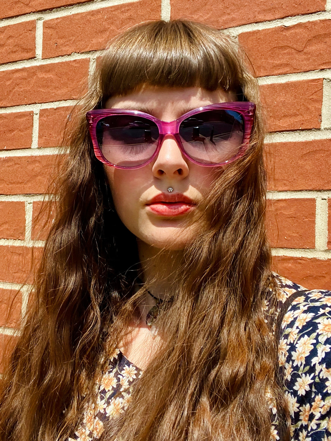 Vintage Inspired Sunglasses in Big Cat Eye Shape with Pink Frame and UV400