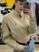 Load image into Gallery viewer, Vintage 90s Reworked Ralph Lauren Crop Top Shirt in Beige Khaki in S/M