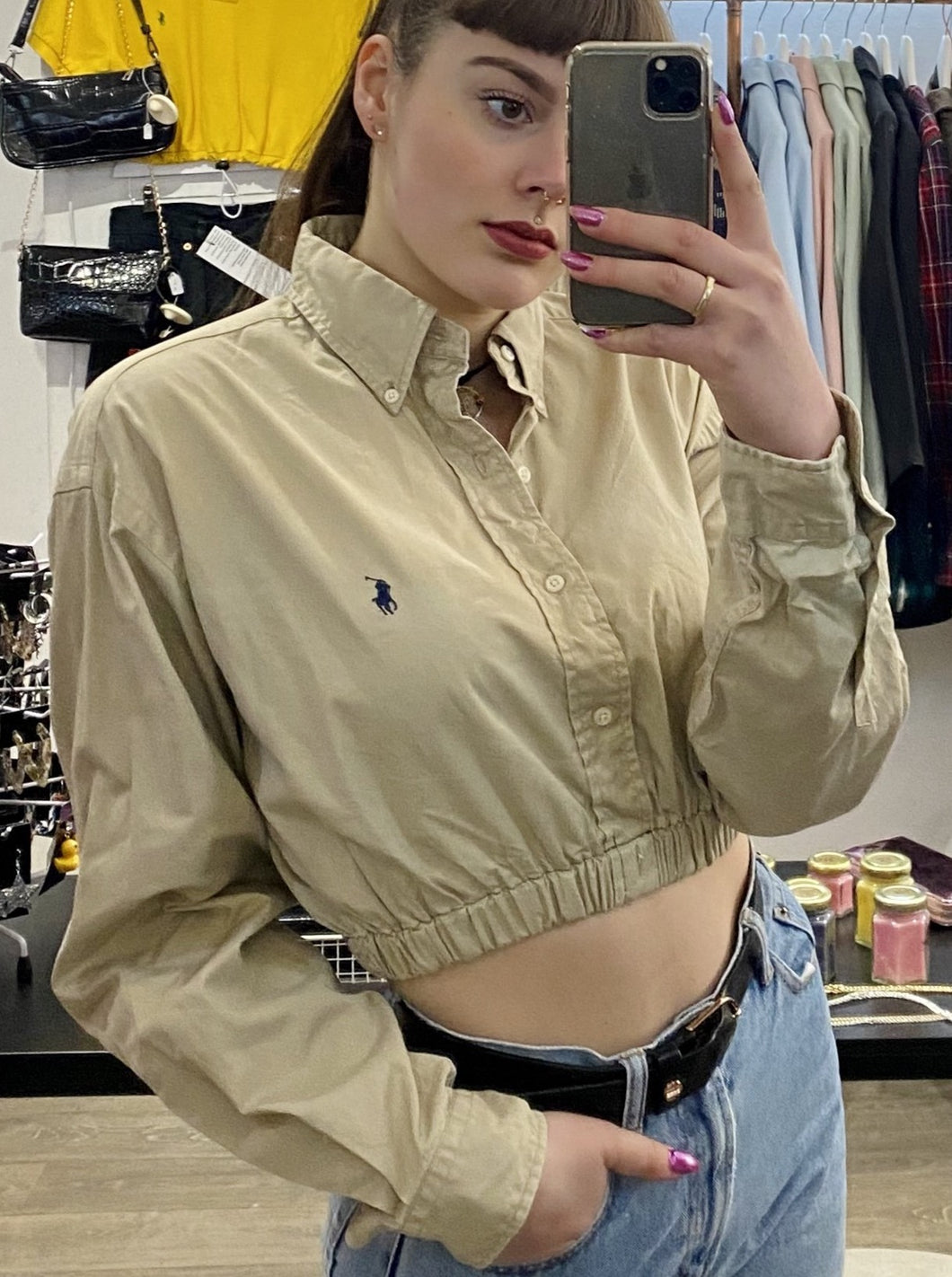Vintage 90s Reworked Ralph Lauren Crop Top Shirt in Beige Khaki in S/M
